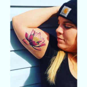 Purple Lotus Tattoo on Bicep