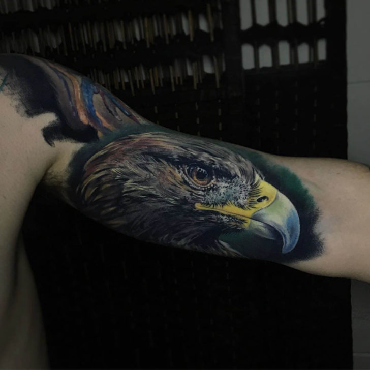 realistic tattoo eagle on bicep