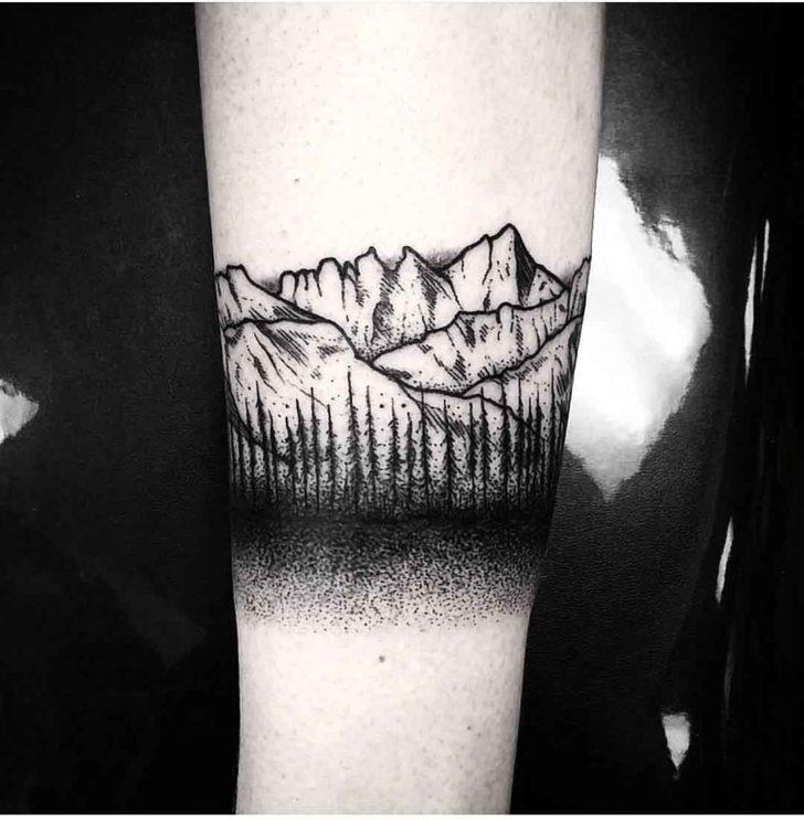 forest tattoo mountain bracelet tattoo