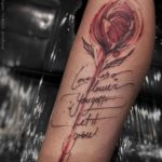 lettering rose tattoo drawing
