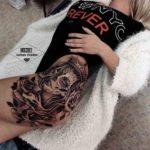 Santa Muerte Hip Tattoo Chicano