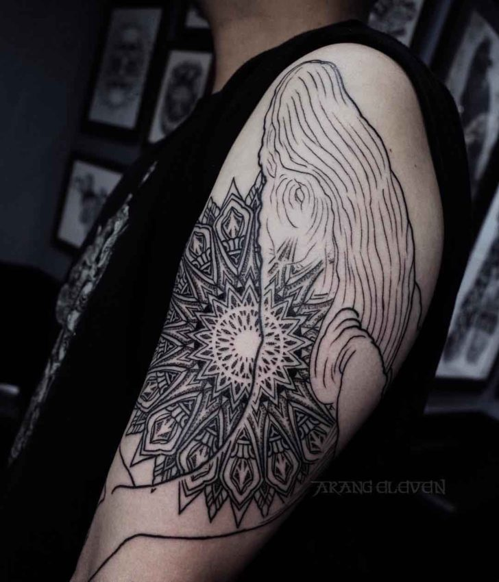 whale tattoo mandala mix on shoulder