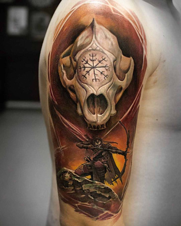 cool fantasy tattoo on shoulder