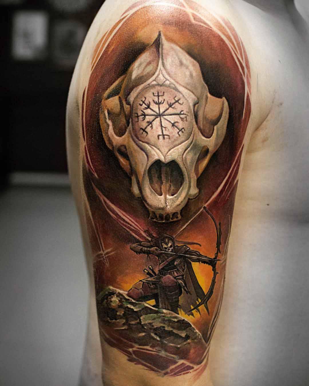 cool fantasy tattoo on shoulder