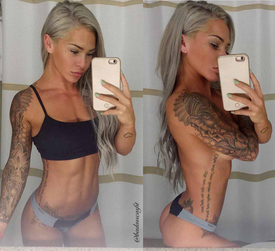 girl with tattoo sleeve ganesha