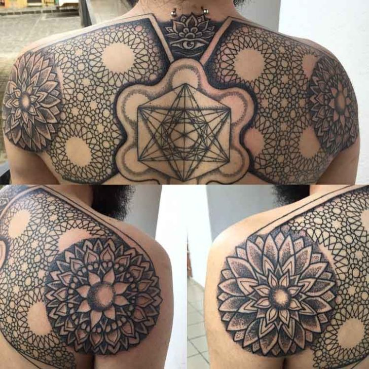 shoulder blade mandala tattoos