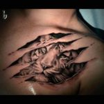 3D tattoo tiger under skin