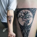 Triangle Tree Tattoo Black and Gray
