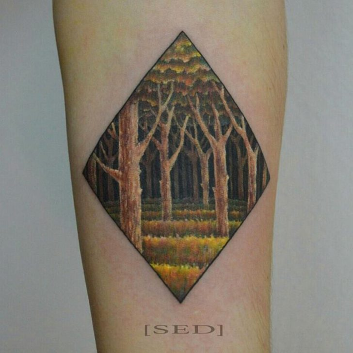 atumn forest tattoo by Vadim Strizhko