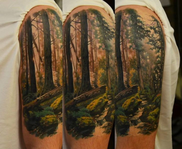 awesome forest tattoo by Den Yakovlev