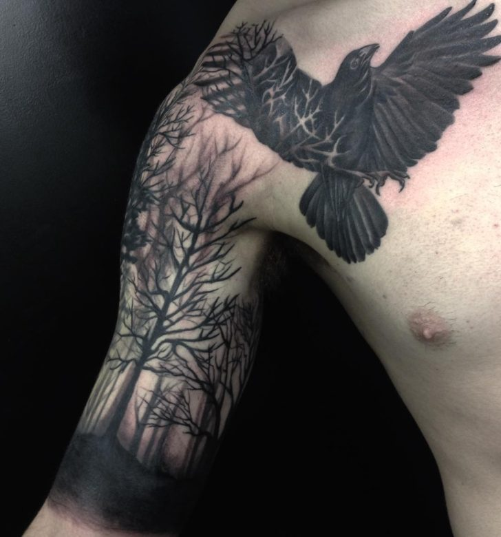 bicep forest tattoo by emma_sailor_tattoo