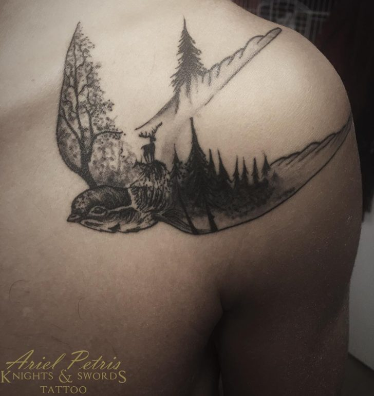 bird and forest tattoo by knstattooart