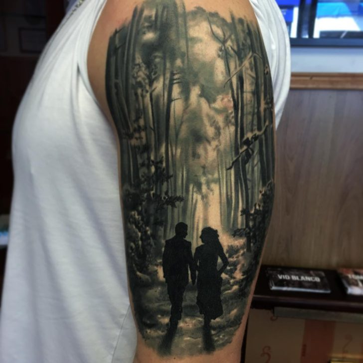 forest lovers by vidblancotattoo