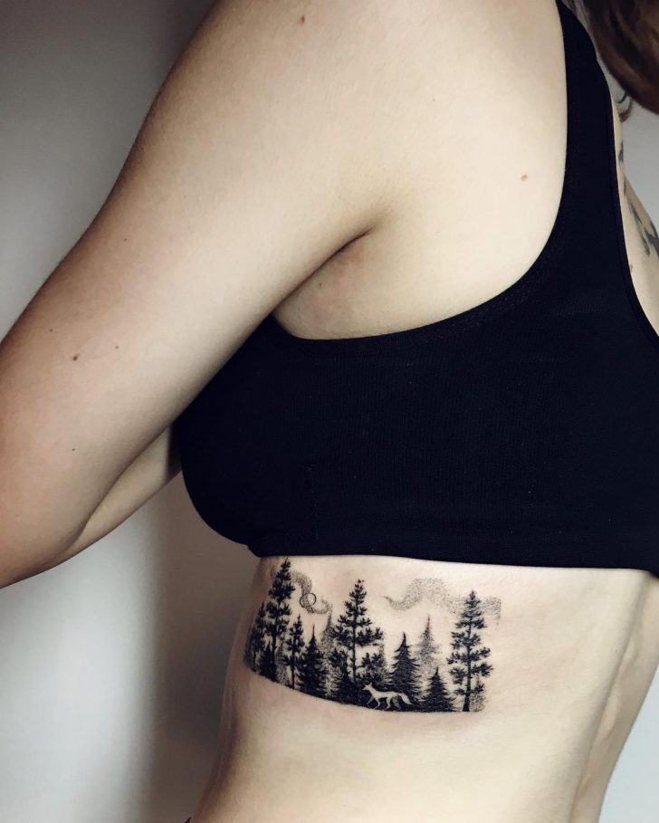 forest woman tattoo by sasha kiseleva