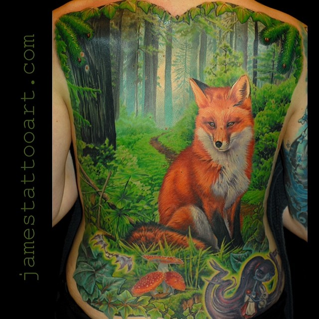 full back fox and forest tattoo by jamestattooart