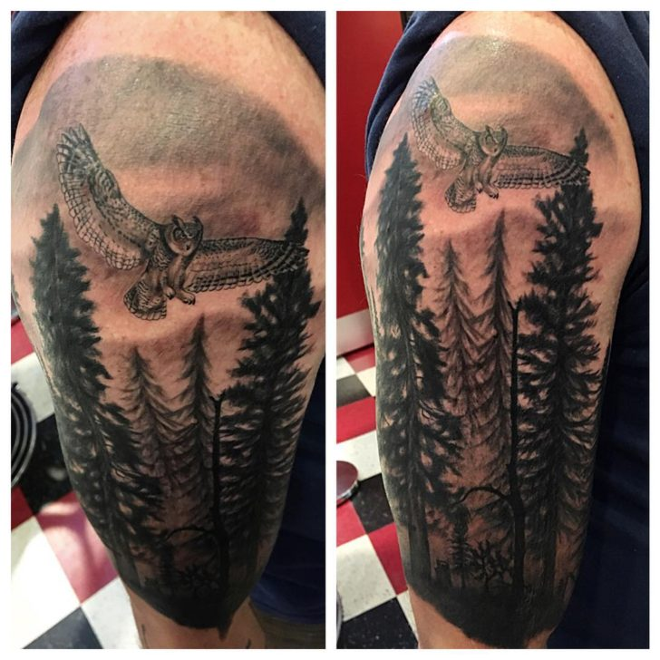 owl in forest tattoo by painlesssteeltattoo