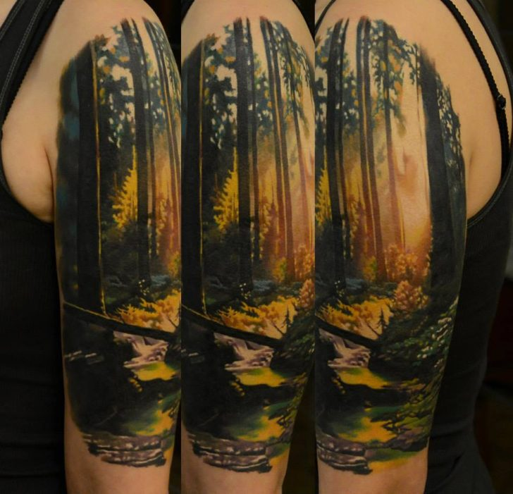 shoulder forest tattoo by Den Yakovlev