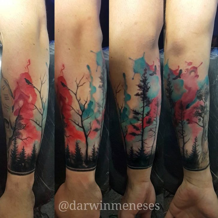 watercolor forest tattoo by darwinmeneses
