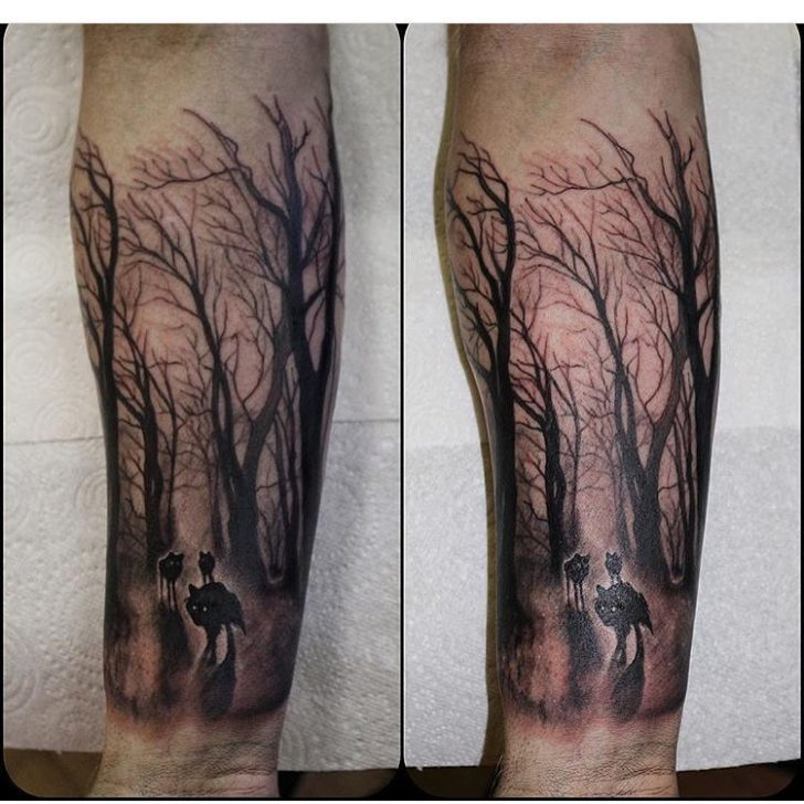 wolves in forest tattoo