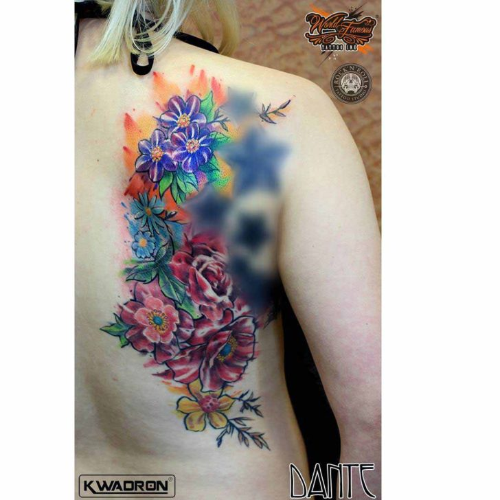 back side flowers tattoo colorful bright
