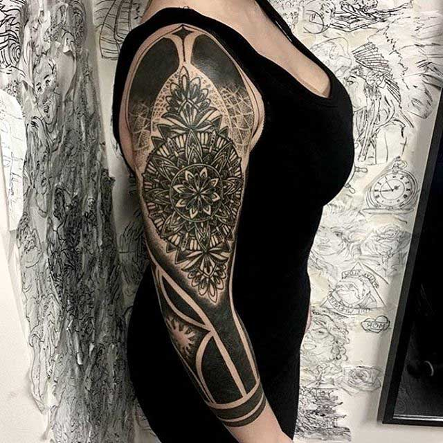half tattoo sleeve mandala
