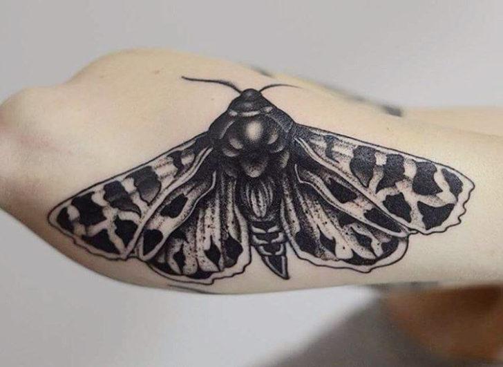 down tattoo moth