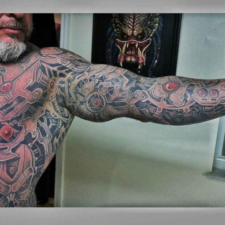 full body sleeve tattoo biomechanical