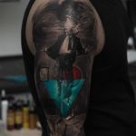 sunken man tattoo on shoulder 3D