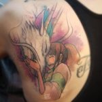anime tattoo watercolor cute and happy