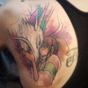 Anime Tattoo Haku and Chihiro