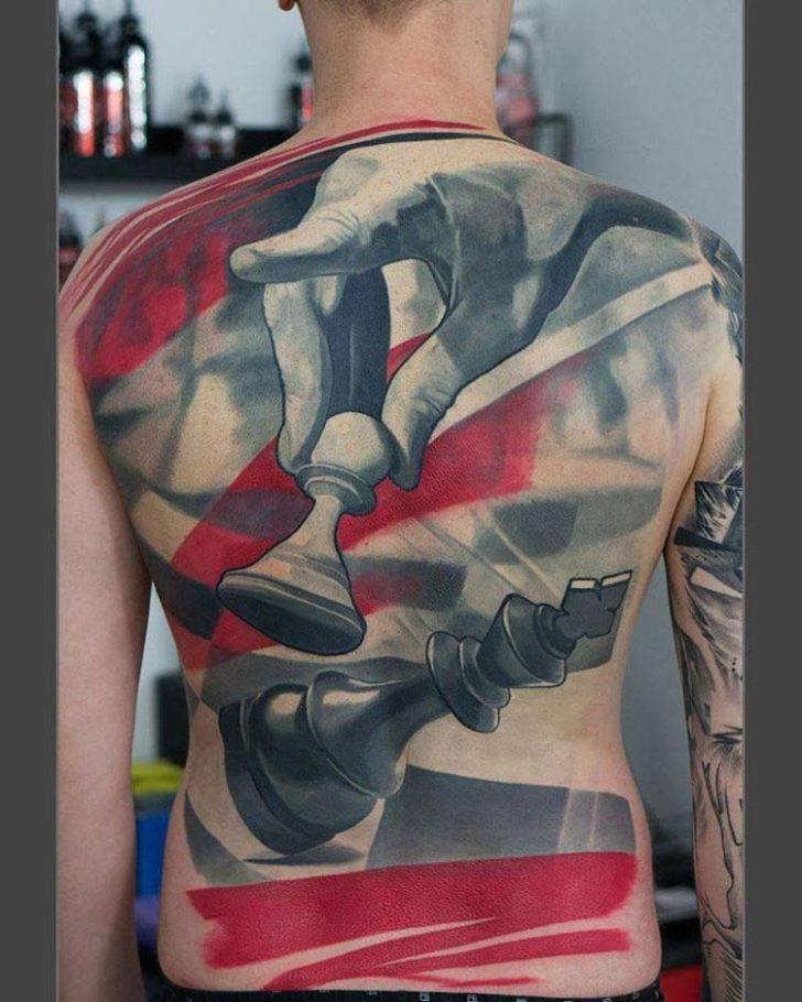 massive full back tattoo chess
