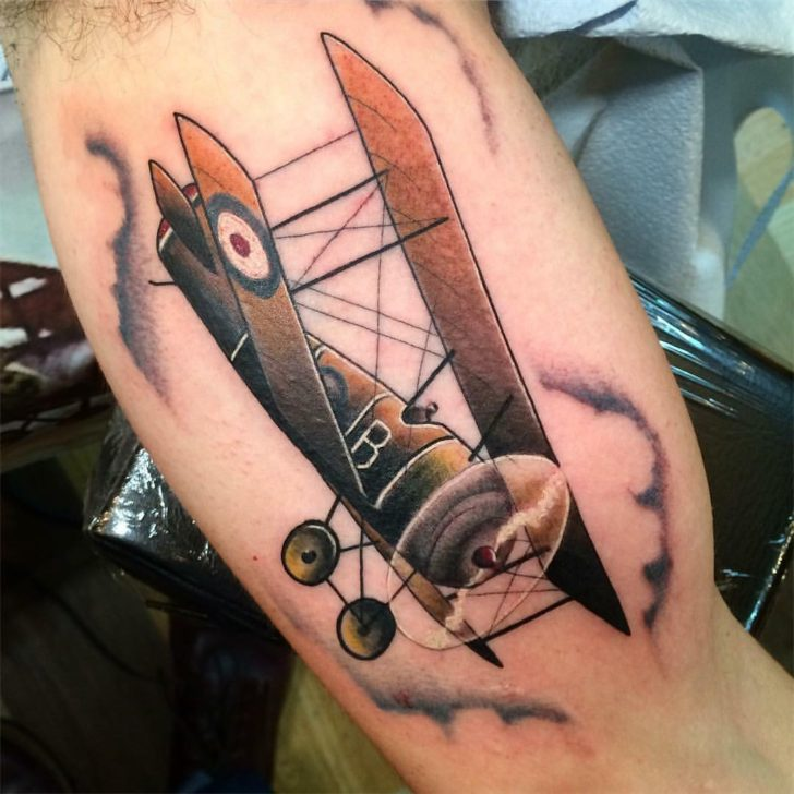 Bicep Traditional Tattoo Plane by Iron Will Tattoo Club