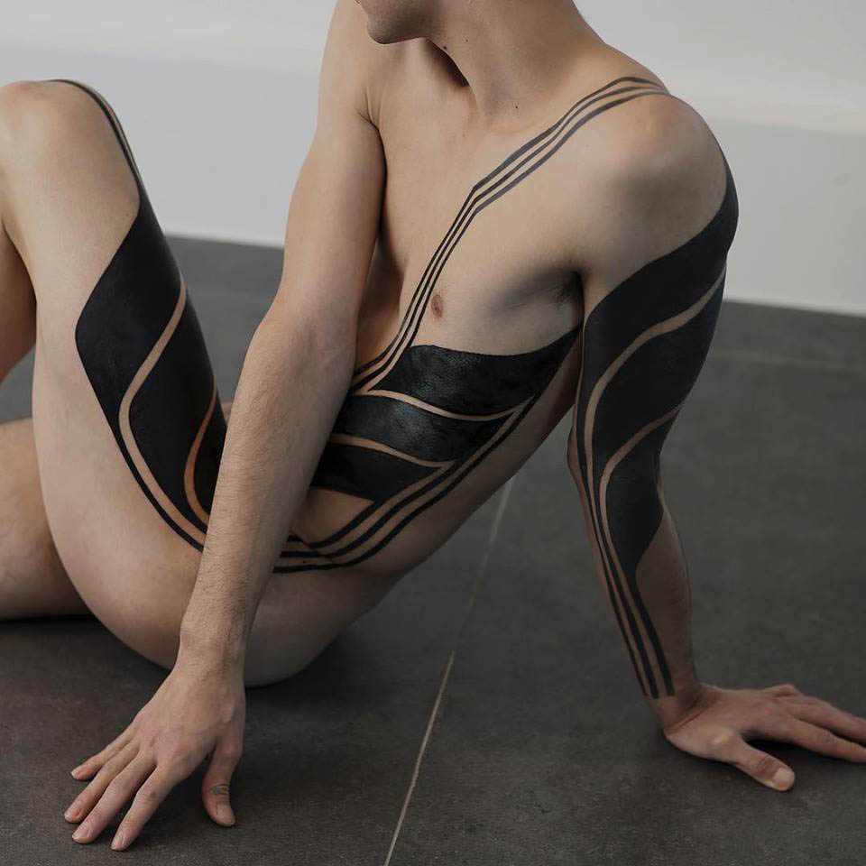 side body blackwork tattoo