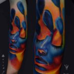 forearm tattoo realistic blue color