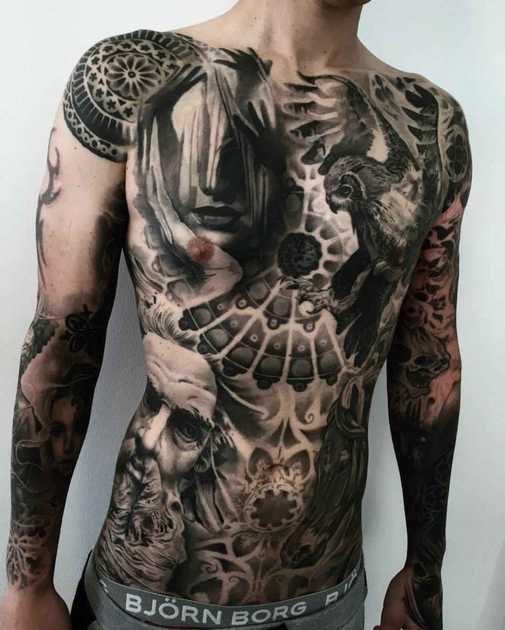 black and grey tattoo full body trash polka recall