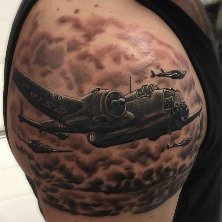 Bombers Tattoo on Shoulder by Gediminas Jocius