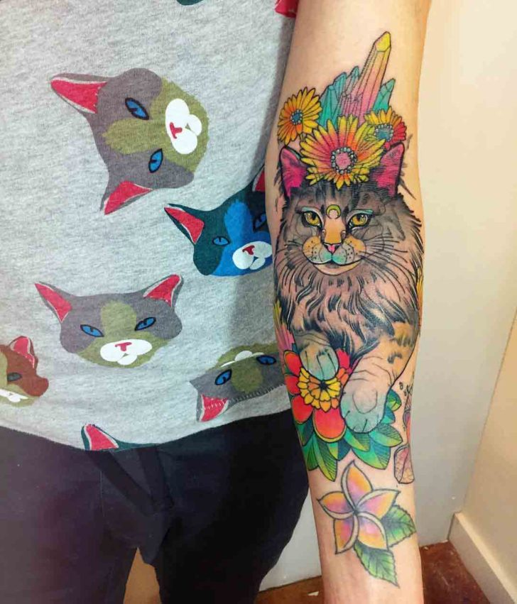 colorful cat tattoo with flowers