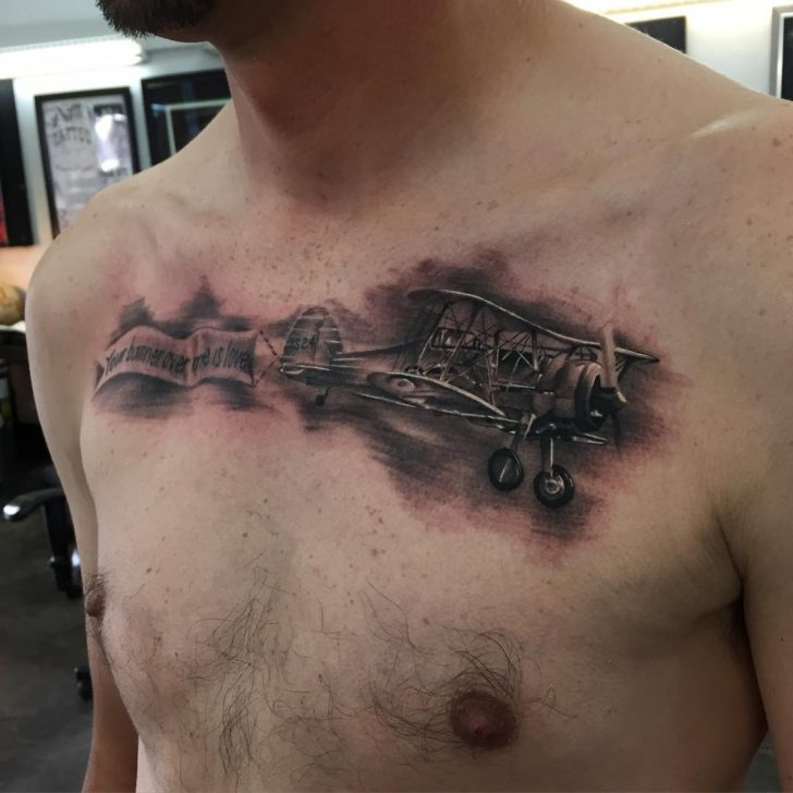 chest tattoo plane by isaactattooer
