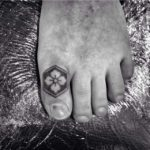 toe tattoo clover stamp