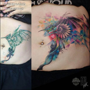 Colorful Hummingbird Cover-Up Tattoo