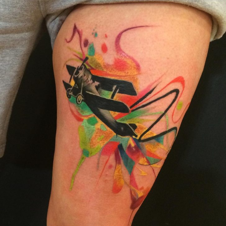 Colorful Tattoo of Plane by Darren Bishop