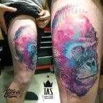 Colorful Gorilla Tattoo on Thigh
