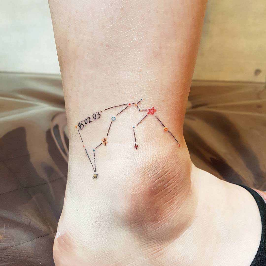 ankle tattoo constellation