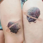 Planet Heads Couple Tattoos