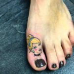 Cute Girl Tattoo on Toe