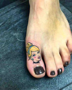 Cute Girl Tattoo on Toe