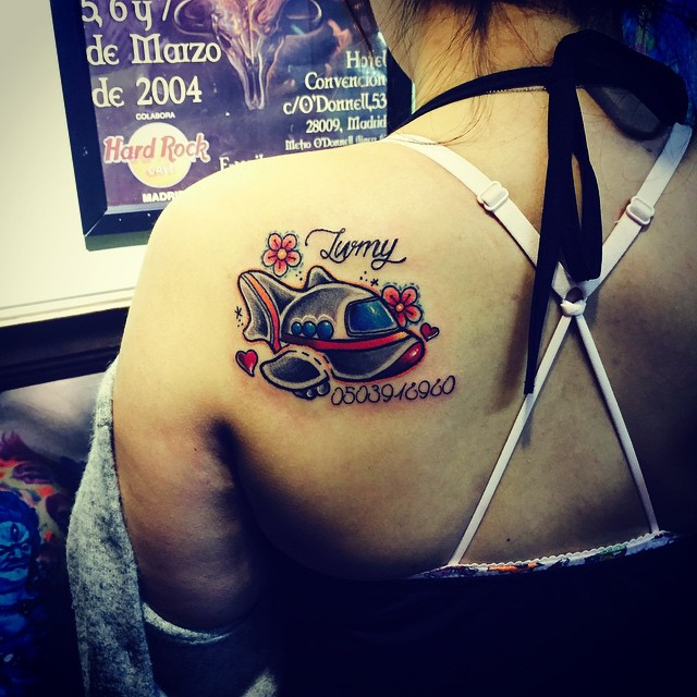 Cute Plane Tattoo on Shoulder Blade by Yztattoo studio