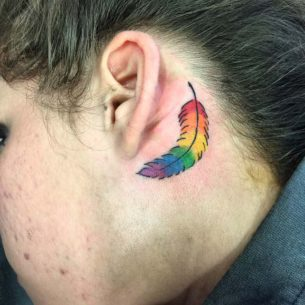 Feather Behind Ear Tattoo Rainbow