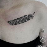 Feather Tattoo on Collarbone