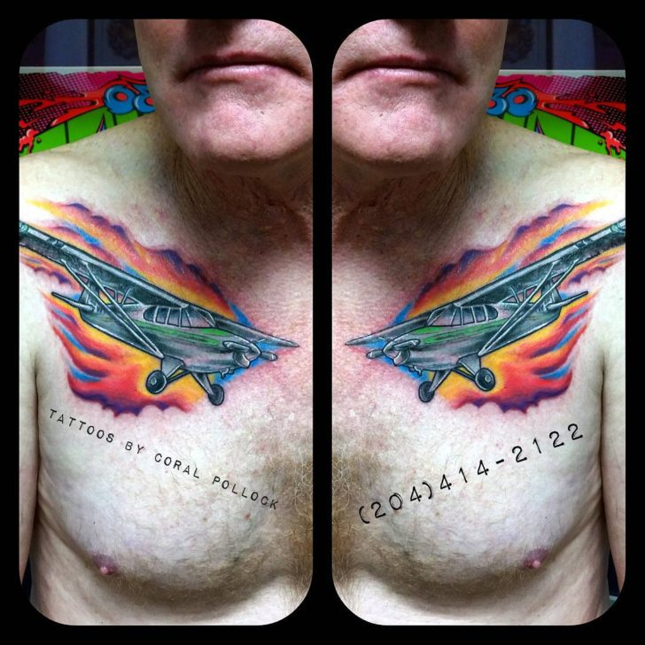Flame Plane Tattoo by Coral Pollock